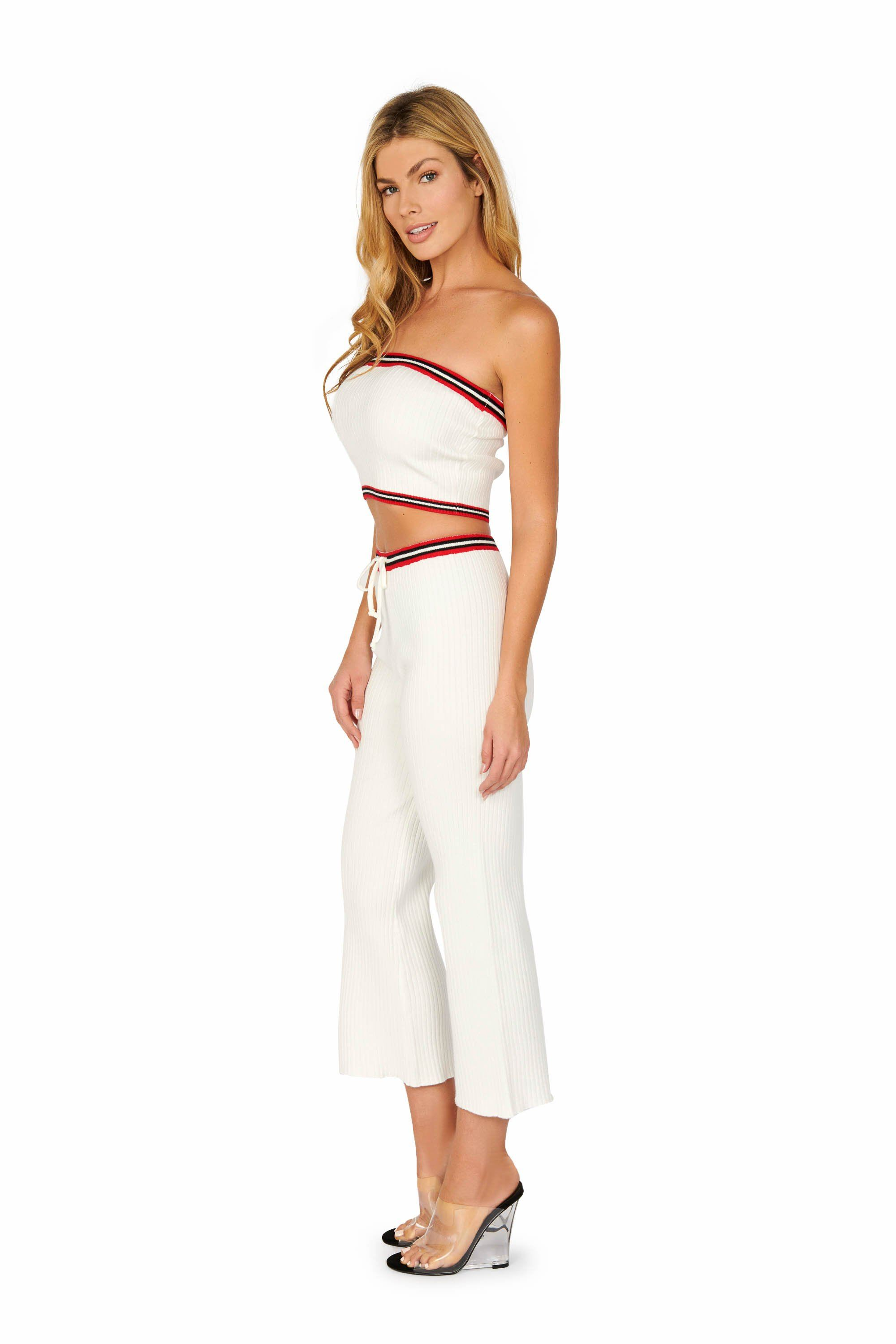 Ready For The Weekend White Track Tube Top Sets HYPEACH BOUTIQUE
