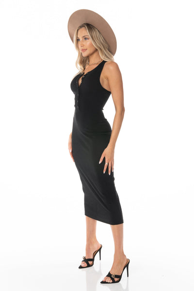 Ribbed Black Midi Dress Sleeveless Dresses HYPEACH BOUTIQUE