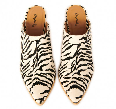 Safari Zebra Block Heel Mules Shoes HYPEACH BOUTIQUE
