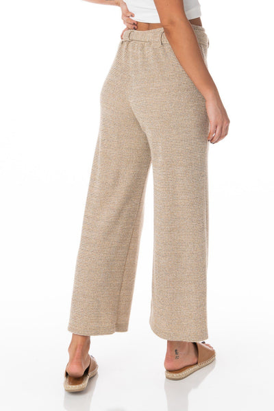 Sandstone Beige Woven Knit Crop Pants Bottoms HYPEACH BOUTIQUE