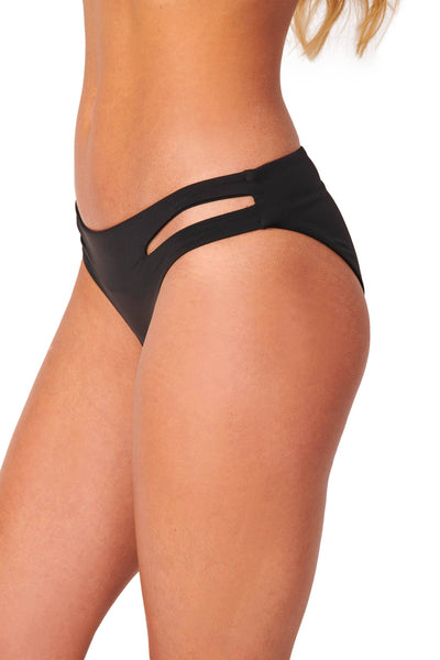 Seamless Cutout Moderate Coverage Black Bikini Bottoms Swimwear HYPEACH BOUTIQUE