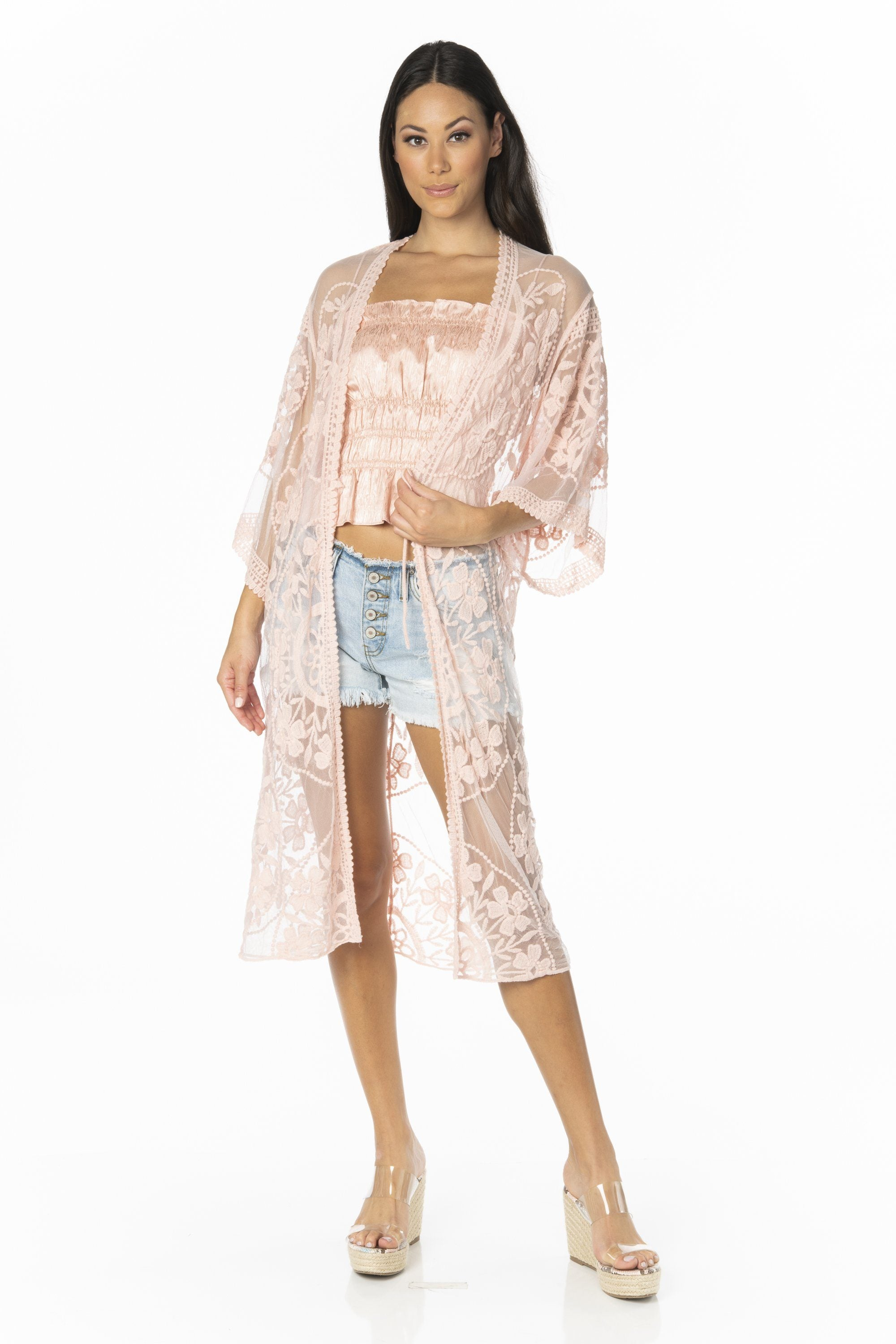 Sheer Mesh & Floral Embroidered Cover Up Swimwear HYPEACH BOUTIQUE