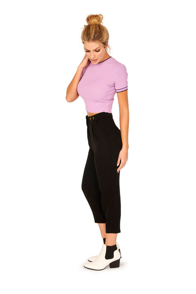 Short Sleeve Ribbed Crew Neck Contrast Knit Sweater Lavender Tops HYPEACH BOUTIQUE