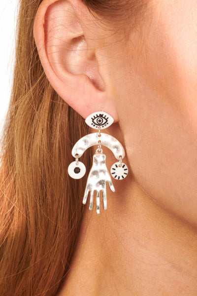 Silver Evil Eye and Hand Drop Earrings Accessories HYPEACH