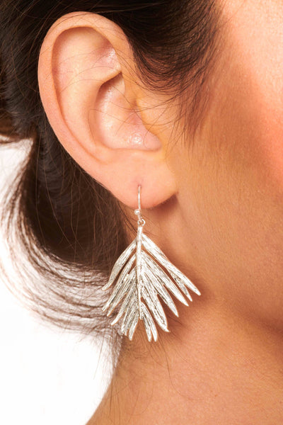 Silver Leaf Drop Earrings Accessories HYPEACH