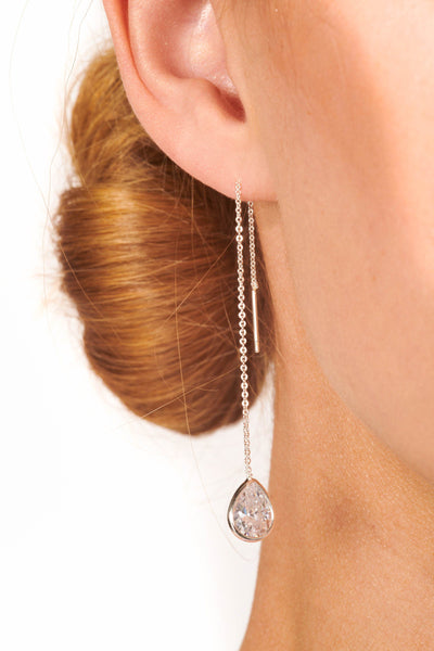 Silver Single Teardrop Crystal Pull Through Earrings Accessories HYPEACH