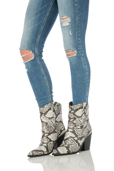 Snake Print Western Booties Black & White Shoes HYPEACH