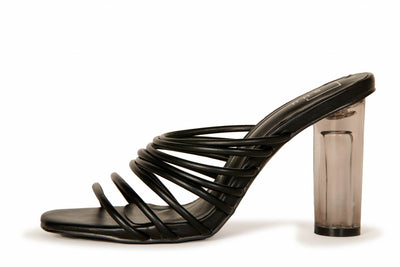 Strappy Lucite Cylinder Heel Black Shoes HYPEACH BOUTIQUE