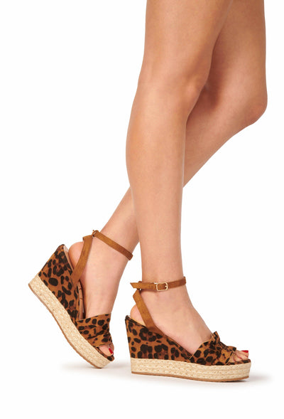 Suede Ankle Strap Open Toe Ruffle Band Espadrille Wedges Leapord Shoes HYPEACH BOUTIQUE