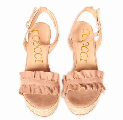 Suede Ankle Strap Open Toe Ruffle Band Espadrille Wedges Mauve Shoes HYPEACH BOUTIQUE