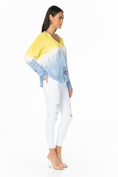 Sunset Yellow Blue Distressed Sweater Tops HYPEACH BOUTIQUE
