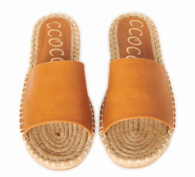 Sweet Escape Espadrille Faux Leather Slide Sandals Tan Shoes HYPEACH BOUTIQUE