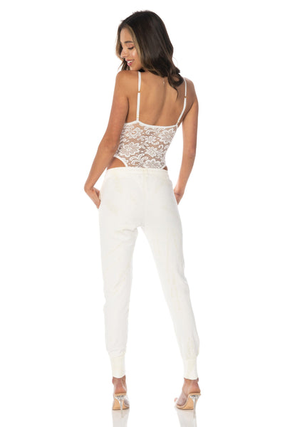 Tropical Orchid Lace Bodysuit White Tops HYPEACH