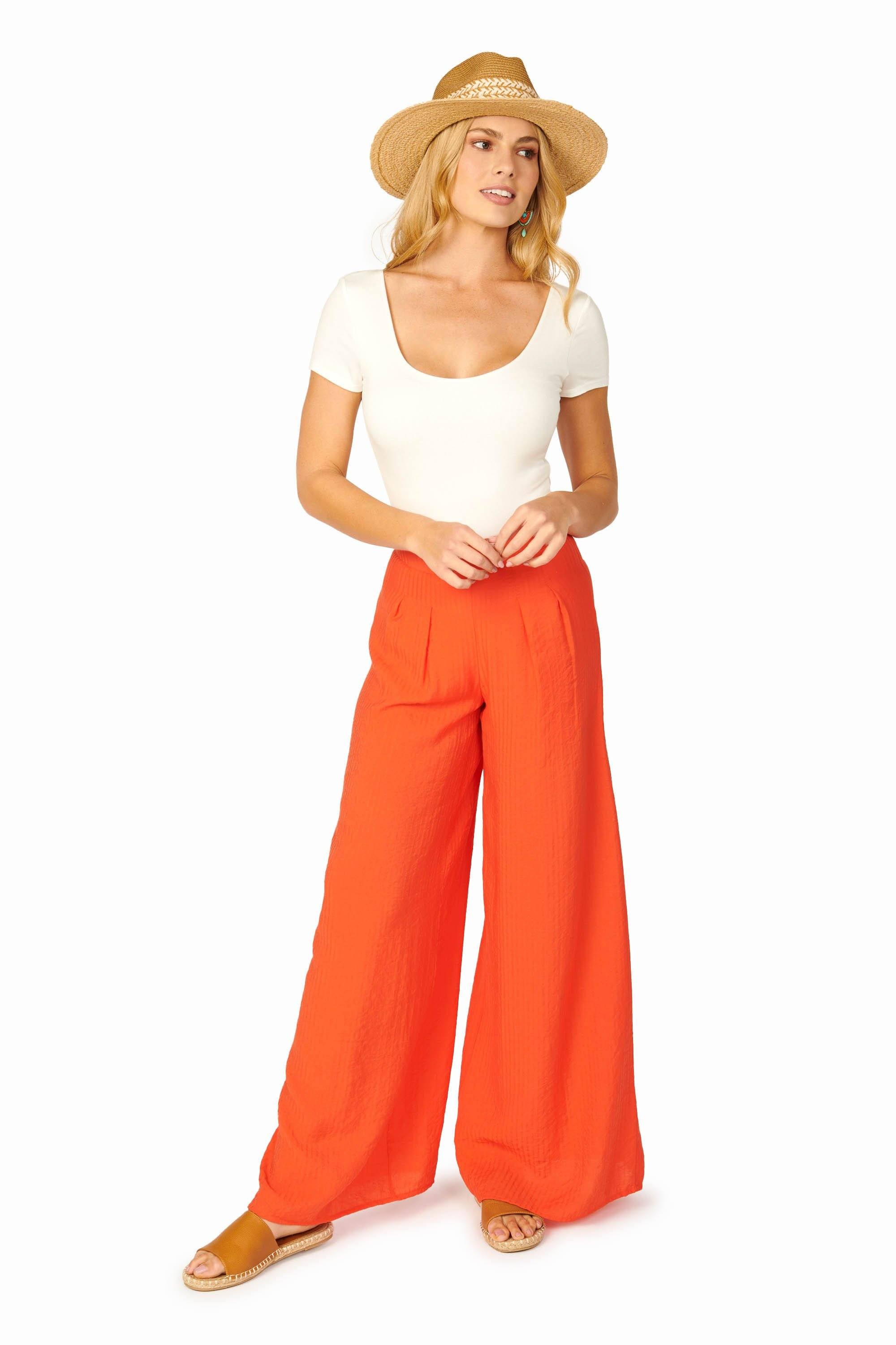 Tropicana Orange Wide Leg Pants Bottoms HYPEACH BOUTIQUE