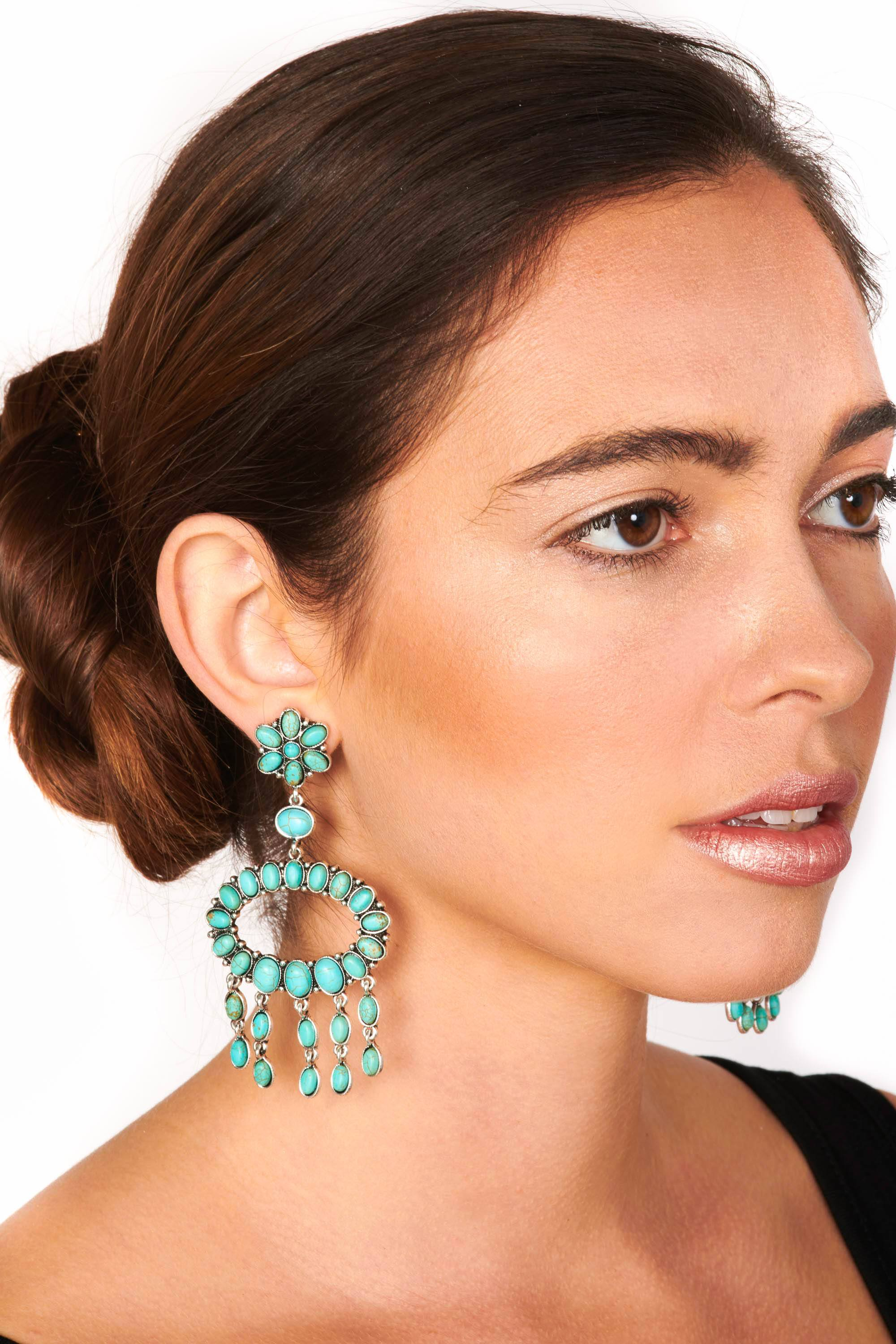 Turquoise Drop Statement Earrings Accessories HYPEACH
