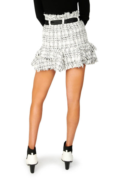 Tweed Mini Circled Black White Skirt Bottoms HYPEACH BOUTIQUE