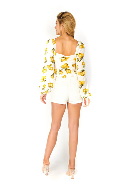 When Life Gives You Lemons White Long Sleeve Cropped Blouse Tops HYPEACH BOUTIQUE