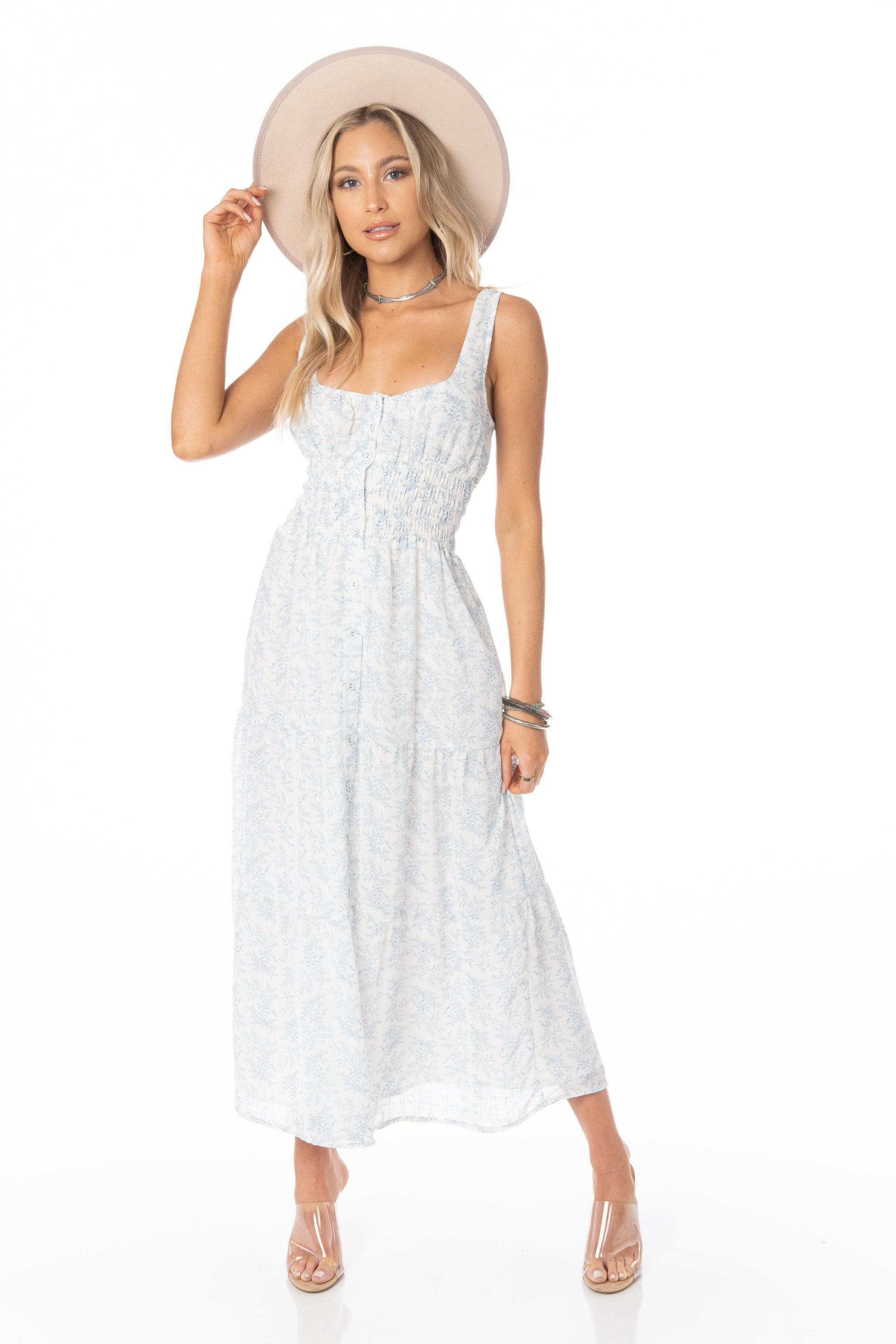 Wildflower White Blue Midi Dress - FINAL SALE Dresses HYPEACH BOUTIQUE