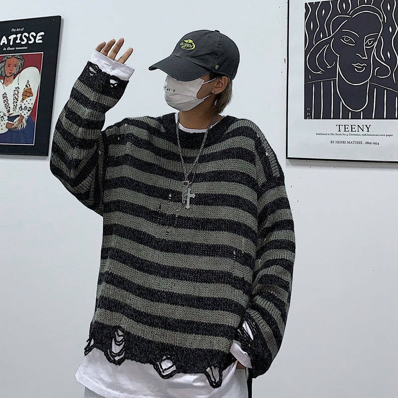 Retro Street Stripe Sweater #A0343