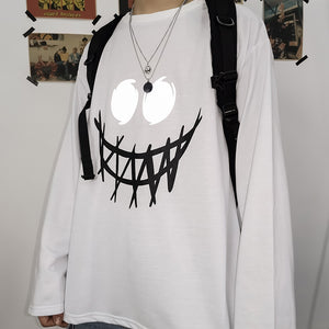 Spooky Smile Print Top #A0349