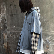 Fake Two-Piece Checked Top #A0351