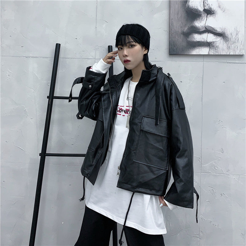 Oversized Rider's Leather Jacket #A0398