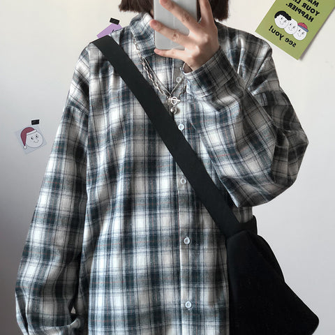 Plaid Checked Street Shirt #A0358