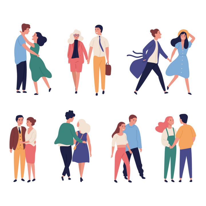 Couples who are on their First date is illustrated with various colors