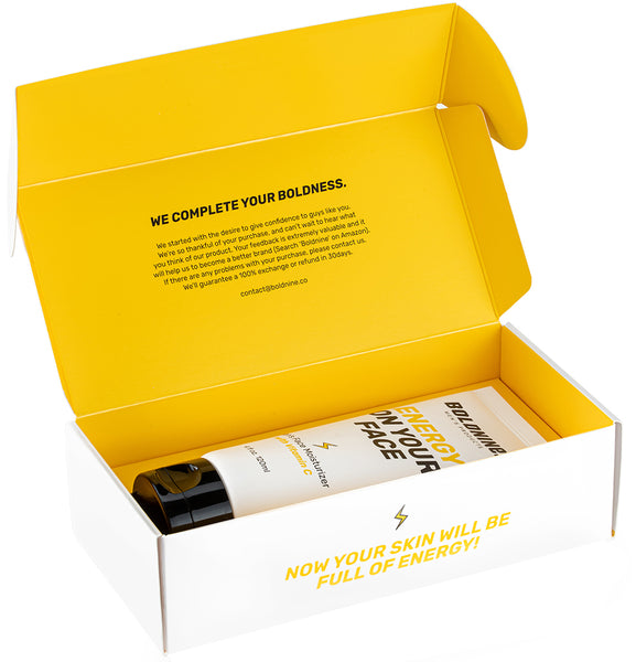 Boldnine brand's best men's Vitamin C moisturizer is placed on the boldnine's yellow packaging box