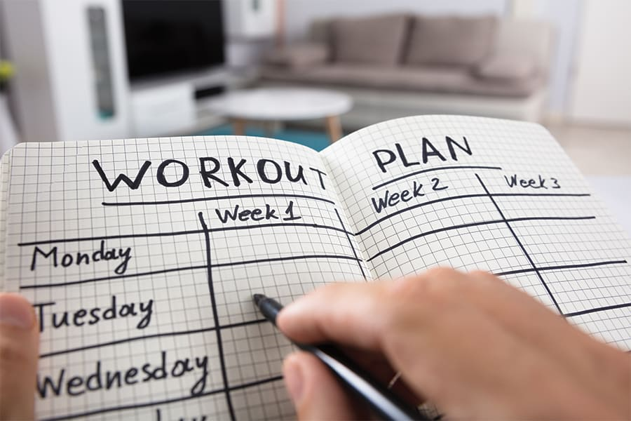 The second step is the workout, if you want to focus on a home workout, a workout plan is an answer.