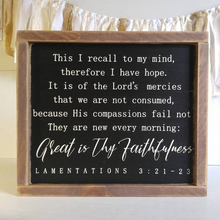 "Load image into Gallery viewer, ""Great is Thy Faithfulness Scripture Sign"" Framed Wood Sign"