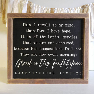 """Great is Thy Faithfulness Scripture Sign"" Framed Wood Sign"