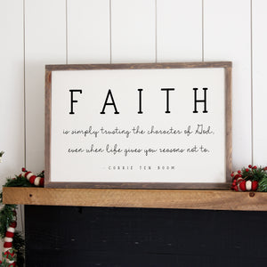 """Faith"" Framed Wood Sign"