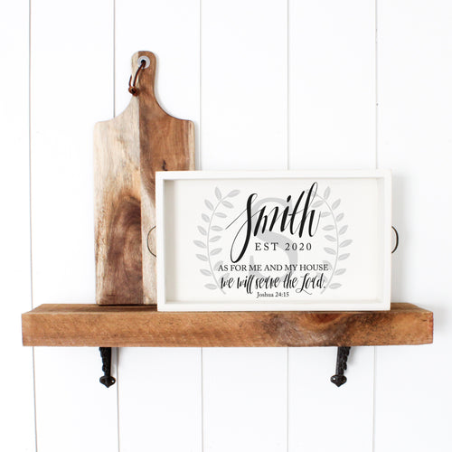 Personalized Family Name Tray with Joshua 24:15