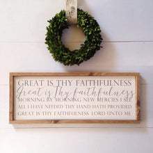 "Load image into Gallery viewer, ""Great is Thy Faithfulness"" Framed Wooden Hymn Sign"