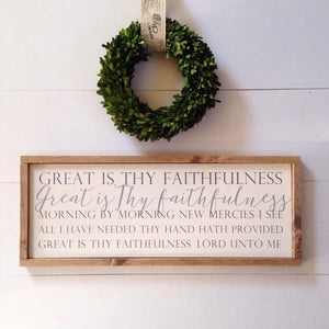 """Great is Thy Faithfulness"" Framed Wooden Hymn Sign"