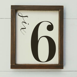 """Number Sign"" Framed Wood Sign"""