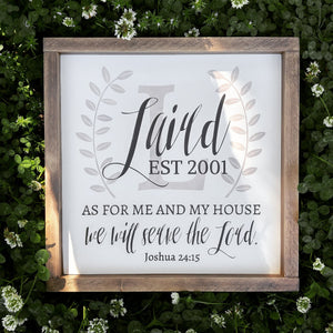 Personalized Family Name Sign with Joshua 24:15