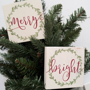 """Christmas Word Tiles"" Mini Wood Sign"