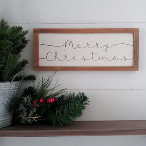 """Simple Merry Christmas""  Framed Sign"