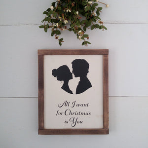 """All I Want for Christmas is You"" Framed Wood Sign"