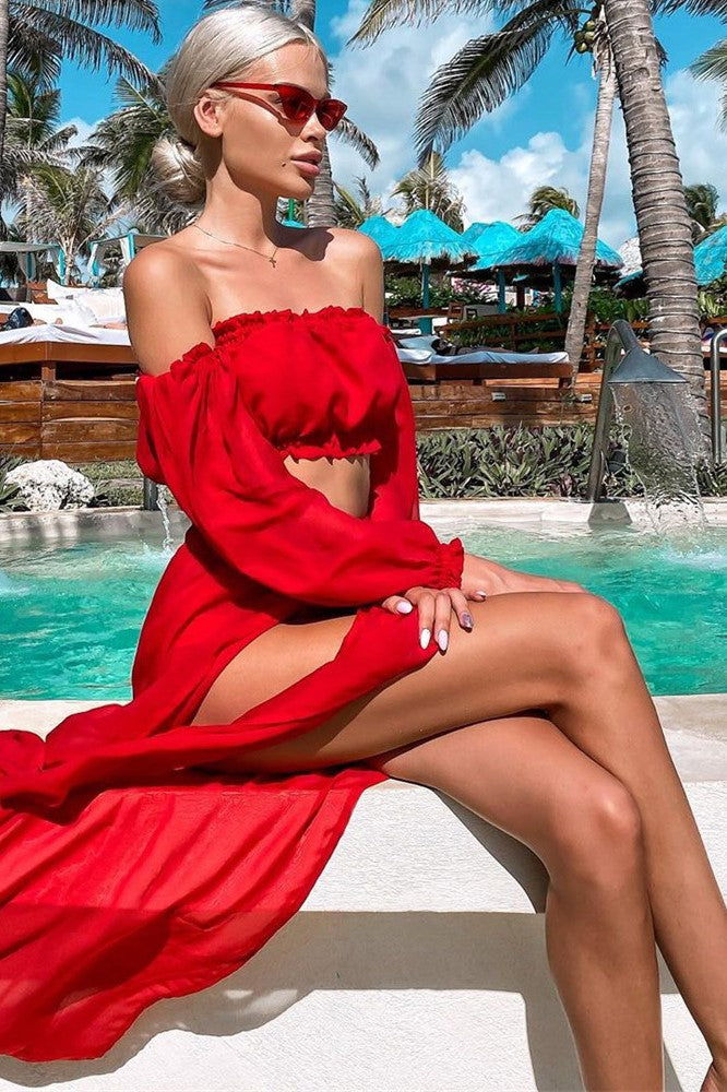 Solid Off Shoulder Long Sleeve Beach Cover Up