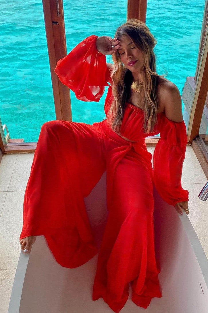 Two-Piece Red Off Shoulder Long Sleeve Beach Cover Up