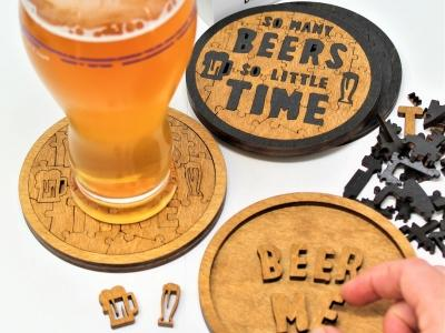Beer Puzzle Coasters - 52 Pieces Each, Set of Four