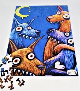 Wolves and the Moon 326-piece geometric wooden jigsaw puzzle