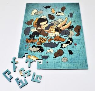 Kitty Heaven geometric wooden puzzle