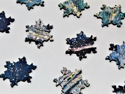 Blue Wave - 416-Piece Tessellation Puzzle, Closeup of pieces showing snowflake tessellation