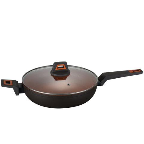 12-in Rough Non-Stick Coated Forged Aluminum Induction Friendly Round Wok Pan - Volcano Stone