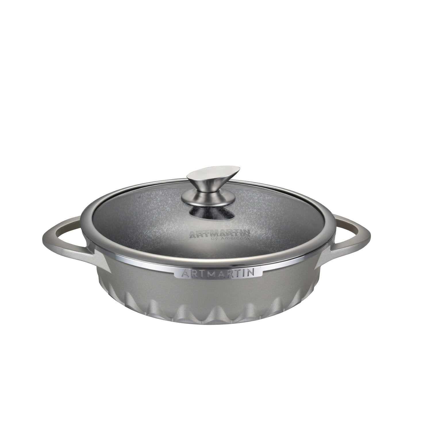 Non-Stick Ceramic Coated Die-Cast Aluminum Round Low Casserole Pot & Lid with Induction Bottom - 11 inch