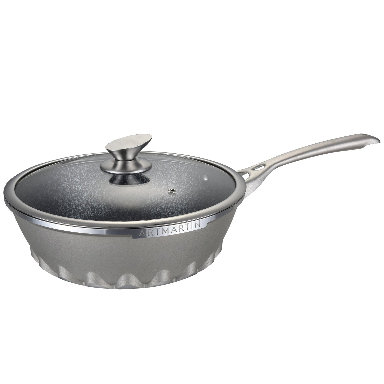 Non-Stick Ceramic Coated Die-Cast Aluminum Round Wok & Lid with Induction Bottom - 11 inch